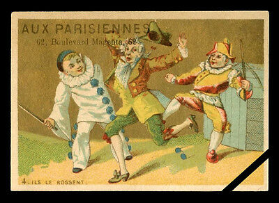 French Antique Trade Card: Original Old Lithograph Aux Parisiennes Paris France