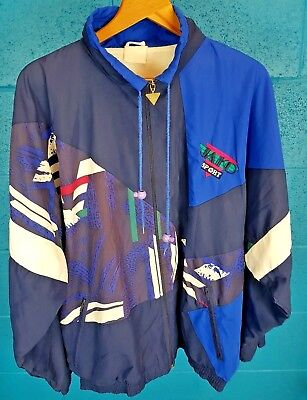Vintage Retro 1980s Festival Blue Jaiko Volleyball Sport Large Jacket / Coat