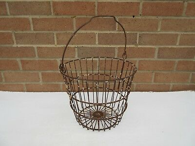 vintage rustic metal wire egg collecting hanging basket garden planter .