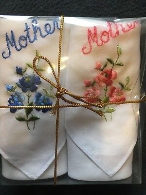 Vintage Antq 2 Collectible Handkerchief Mother Embroider Linen Pink Blue Flowers