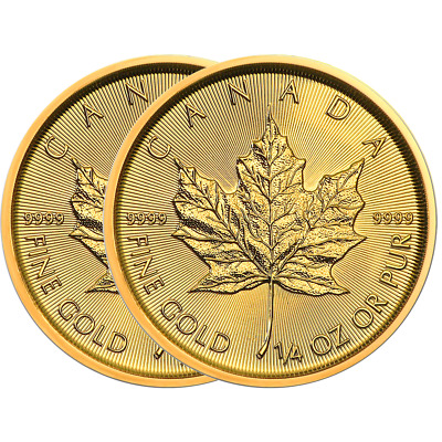Lot of 2 - 2019 $10 Gold Canadian Maple Leaf .9999 1/4 oz Brilliant Uncirculated