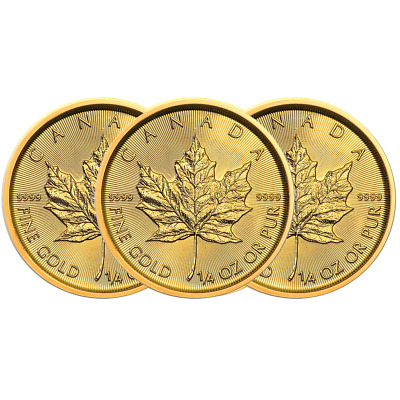 Lot of 3 - 2019 $10 Gold Canadian Maple Leaf .9999 1/4 oz Brilliant Uncirculated