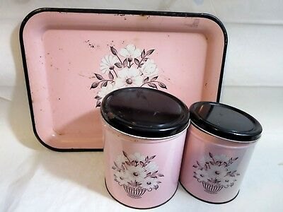 Lot of Vintage 50's Decoware Pink Black Flowers Metal Serving Tray + 2 Canisters
