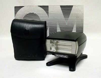 OLYMPUS T 20 Electronic Flash Unit Tested Working OM1 OM2 OM4 OM10 w/Case Manual