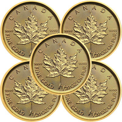 Lot of 5 - 2019 $1 Gold Canadian Maple Leaf .9999 1/20 oz Brilliant Uncirculated