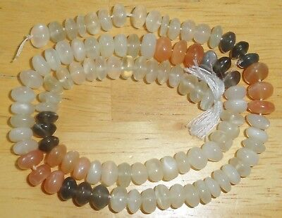 1 Strand Unique Rare Moonstone Round Button Shaped Beads...Size: 7.5x10mm