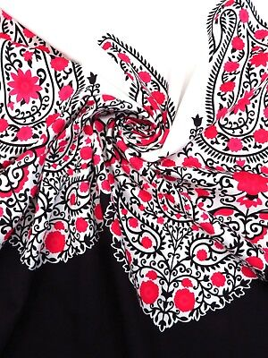 Modern Boho Chic Paisley Cotton Stretch Sateen Border-Print Panel! WHOLE PIECE!