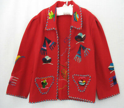 Vintage 40s 50s Mexican Red Wool Felt Embroidered Souvenir Jacket Child's Size