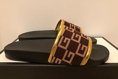 fe14233fc5f131 Men s Gucci Pursuit 72 Knit Slide Sandals Brown Gold 6-13 NEW 100% Authentic