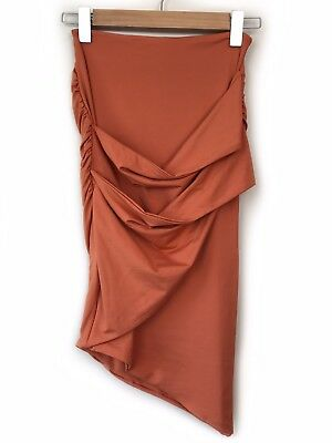 f29e5fe327 Kookai Orange Pencil Skirt Size 1 XS Ruched Cross Over Wrap Fitted Bodycon