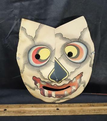Unusual Vintage Halloween Paper Mask Leather Face Patch Work !