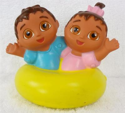 GUILLERMO and ISABELLA on Yellow Raft Bath Toy DORA the EXPLORER