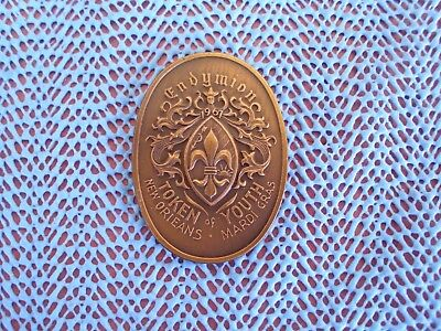 1987 Krewe of ENDYMION oval antique bronze Mardi Gras doubloon