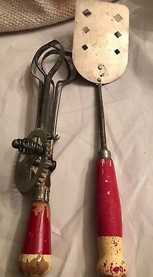 Vintage 1950's Red & Cream Wood Handle Egg Beater Spatula lot of two farmhouse