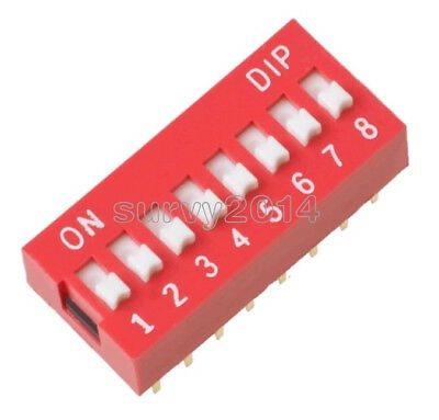 5PCS Red 2.54mm Pitch 8-Bit 8 Positions Ways Slide Type DIP Switch NEW