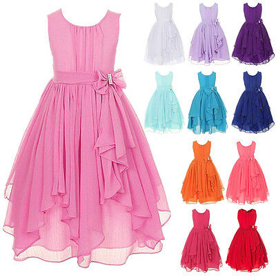 Kids Girl Party Bow Maxi Dress Wedding Birthday Bridesmaid Prom Princess Dresses