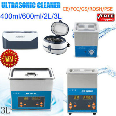 400/600ml/2/3L Ultrasonic Cleaner Ultra Sonic Tank Cleaning Timer Heater Cleaner