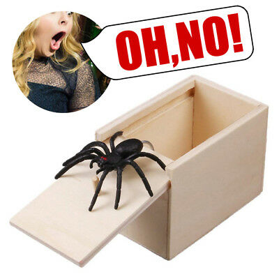 Wooden Prank Spider Scary Box Hidden in Case Trick Play Home Joke Gag Gift Toys