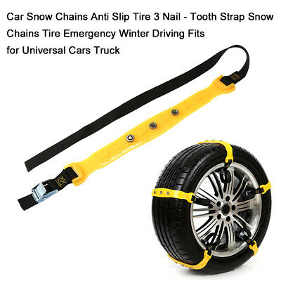 Car Snow Anti Slip Tire 3 Nail - Tooth Strap Chains Tire Chains for Winter D9V6