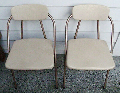 REDUCED! Vintage Retro 1950s Hamilton Cosco Folding Card Table Chairs, Beige