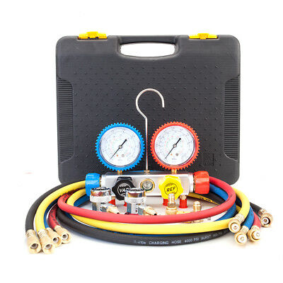 R410 R134 R22 R407C HVAC A/C Air Refrigeration Kit AC Manifold Gauge Set Brass