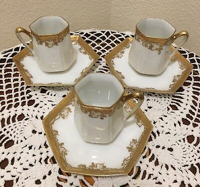 Antique Nippon Gold Encrusted Porcelain Chocolate Cup Saucer Demitasse Dainty
