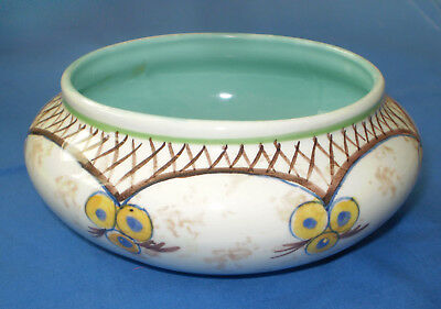 """Vintage Holiday GOUDA Holland Hand Painted Pottery BOWL """"GG Crown Cross"""" Mark"""