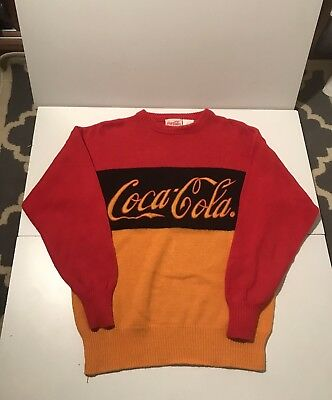 Vintage Knit Coca Cola Spellout Sweater Rare Collector's Item Same Day Shipping