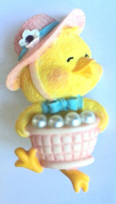 Vintage PIN Easter DUCK LAUNDRY BASKET Faux Pearl Bubbles Vtg resin Brooch Avon