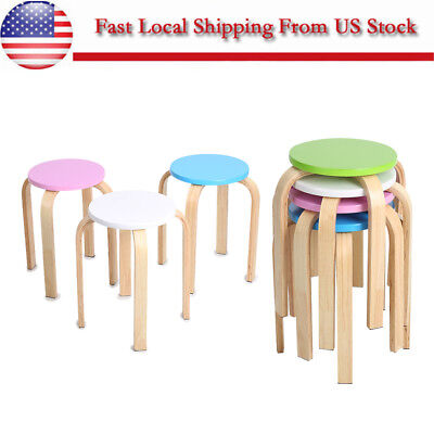 "18"" Candy Color Wood Stool Child Kids Round Seat Chair Room Home Furniture US"