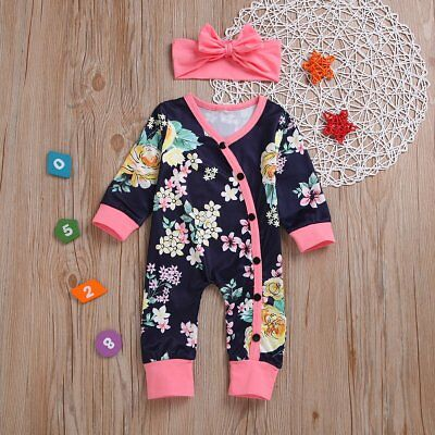 Newborn Baby Girls Floral Romper Bodysuit Jumpsuit Headband Outfits Set Clothes