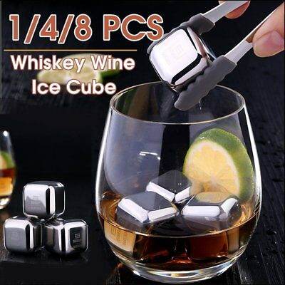 1/4/8Pc Whiskey Stone Wine Ice Cube Reusebale Drink Cooler Whisky Rock Scotch KW
