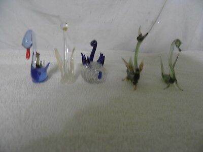 Group Of Glass Swans