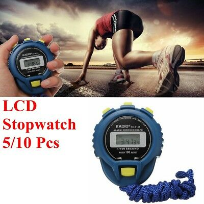 1/5/10x LCD Chronograph Digital Timer Stopwatch Sport Counter Odometer