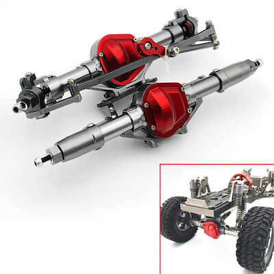 Stainless Steel Front+Rear Rock Axle Fit for Axial SCX-10 D90 Honcho Jeep RC Car