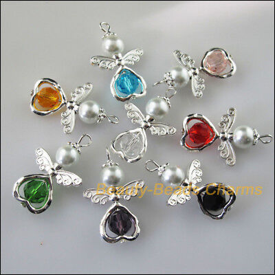 8Pcs Silver Plated Wings Heart Dancing Mixed Angel Charms Pendants 21.5x33mm