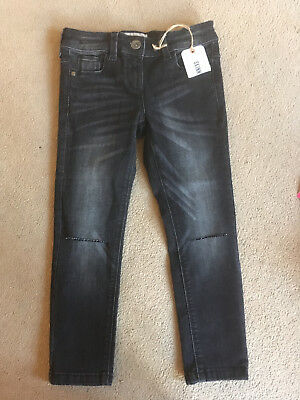 BNWT NEXT Girls Black Skinny Distressed Jeans Age 7 Years Adjustable Waist