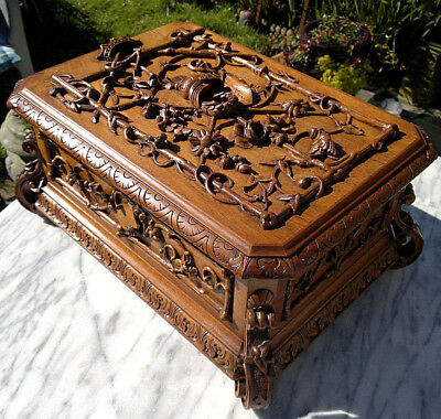 "HUGE 18.5"" Antique Swiss Black Forest Carved Casket Desktop Box"