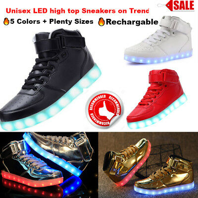JSO2 LED Flashing Light up Shoes Men Women Sneakers Trainers RED High-Top
