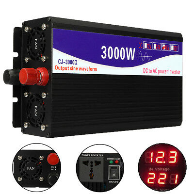 3000W onda sinusoidale pura potenza Inverter 12V a 220V Dual LED digitale Displa