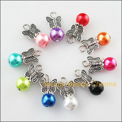 10Pcs Tibetan Silver Butterfly Mixed Round Glass Beads Charms Pendants 10.5x20mm