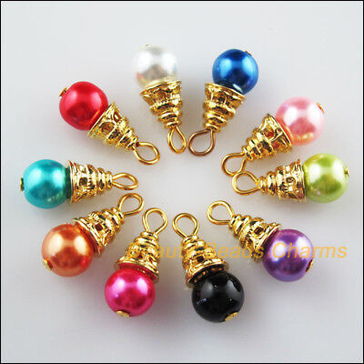 10Pcs Gold Plated Ends Mixed Round Glass Beads Charms Pendants 8x19mm