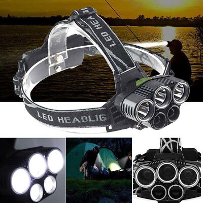 Hell 90000LM stirnlampe T6 CREE LED Kopflampe FACKEL USB TASCHENLAMP 2x Akku Camping & Outdoor Stirnlampen
