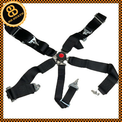 Black 5 Point Car Racing Harness Quick Release Latch Clip Fitting + Eye Bolts