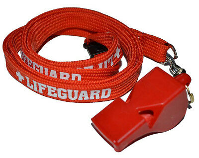 Lifeguard Red / White Whistle Tube Lanyard  With Safety Break Life Guard Classic