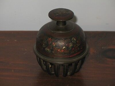 Brass Claw Bell Elephant Bell Temple Bell w/ Bright Cut Floral and Foliage