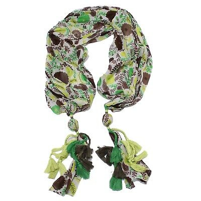 0546Y sciarpa bimba GIRL LULU' cotton/silk scarf green/brown/white