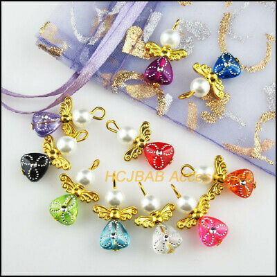 10Pcs Gold Plated Wings Mixed Heart Dancing Angel Charms Pendants 14x22mm