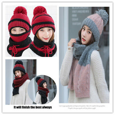 3Pcs Women Scarf and Hat Set Winter Warm Knitted Beanie Scarves Ladies Skull Cap