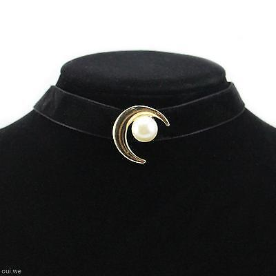 Chic Women Ladys Neck Decor Short Choker Moon Shape Black Neacklace Collar Gift